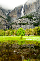 Yosemite Falls and reflecting pond