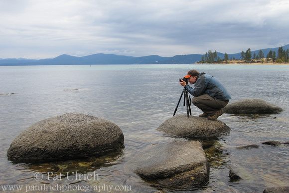 Photograph of Pat Ulrich photographing Lake Tahoe