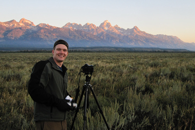 Pat Ulrich photographing the Tetons