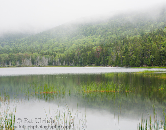 Photograph of fog descends over Upper Hadlock Pond in Acadia National Park