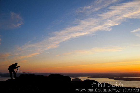 Wildlife photographer Pat Ulrich photographing the sunrise in Acadia National Park