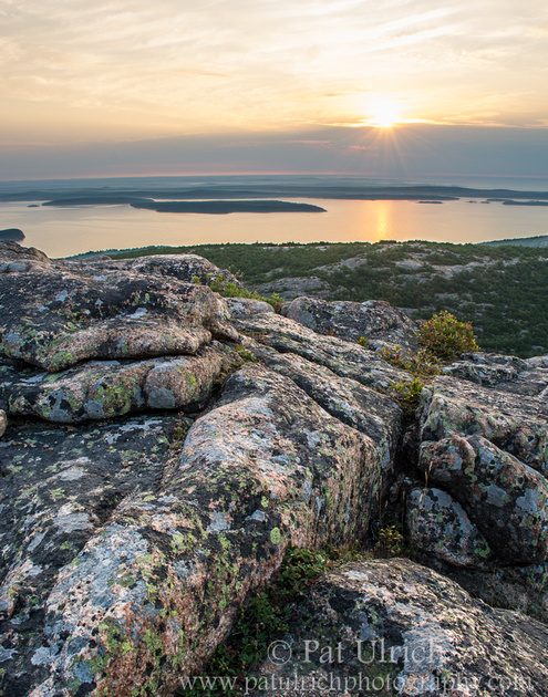 First light over fog on Cadillac Mountain in Acadia National Park