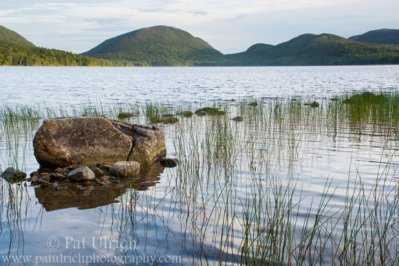 Pemetic Mountain as seen from the shoreline of Eagle Lake in Acadia National Park