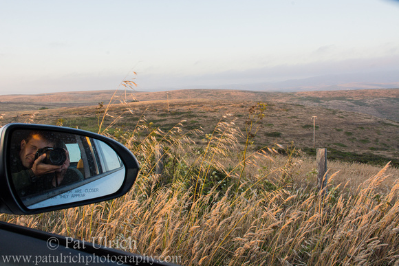 Selfie of landscape photography from a car in Point Reyes National Seashore